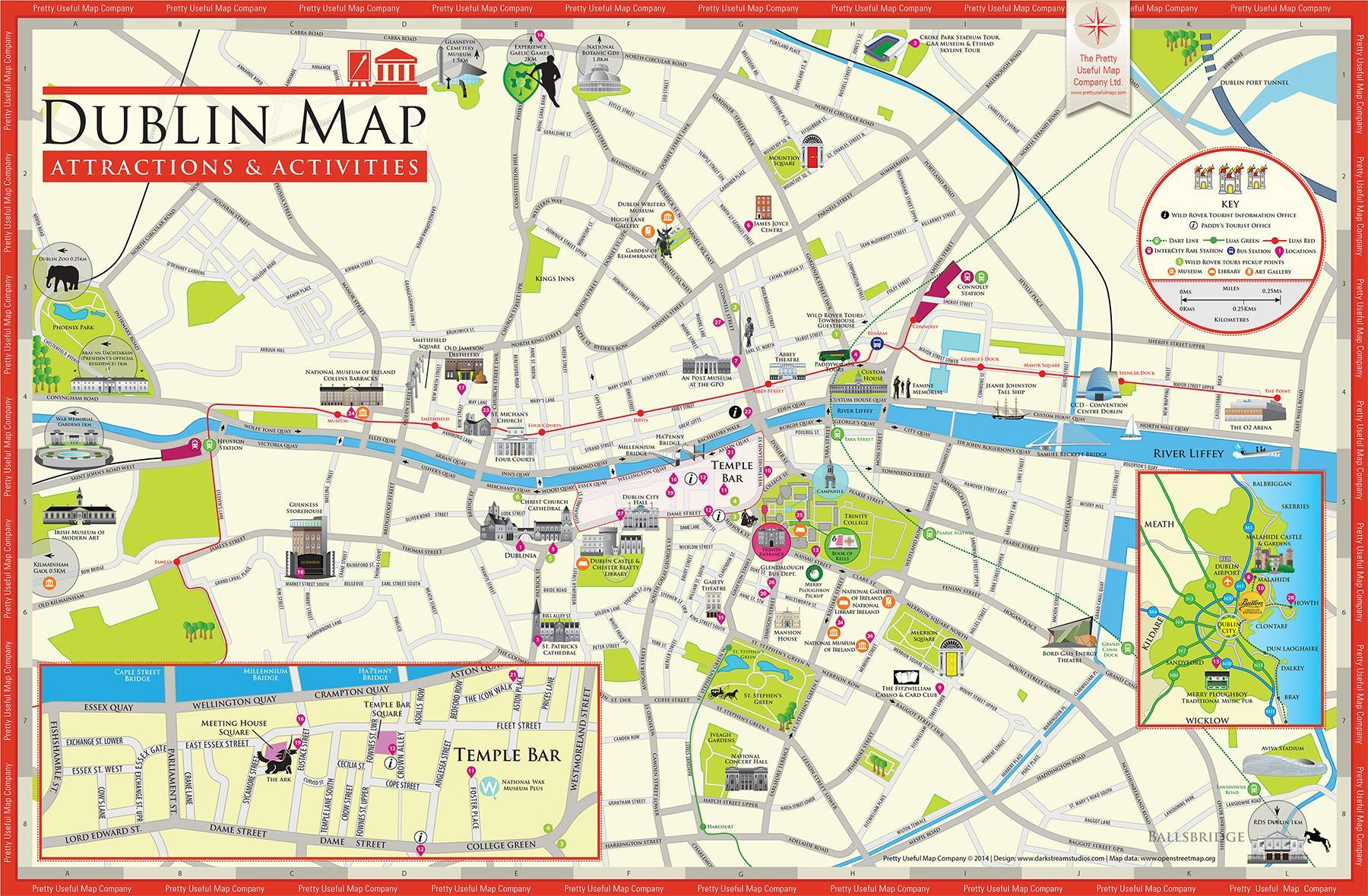 Map of dublin ireland tourist attractions - Map of dublin ireland ...