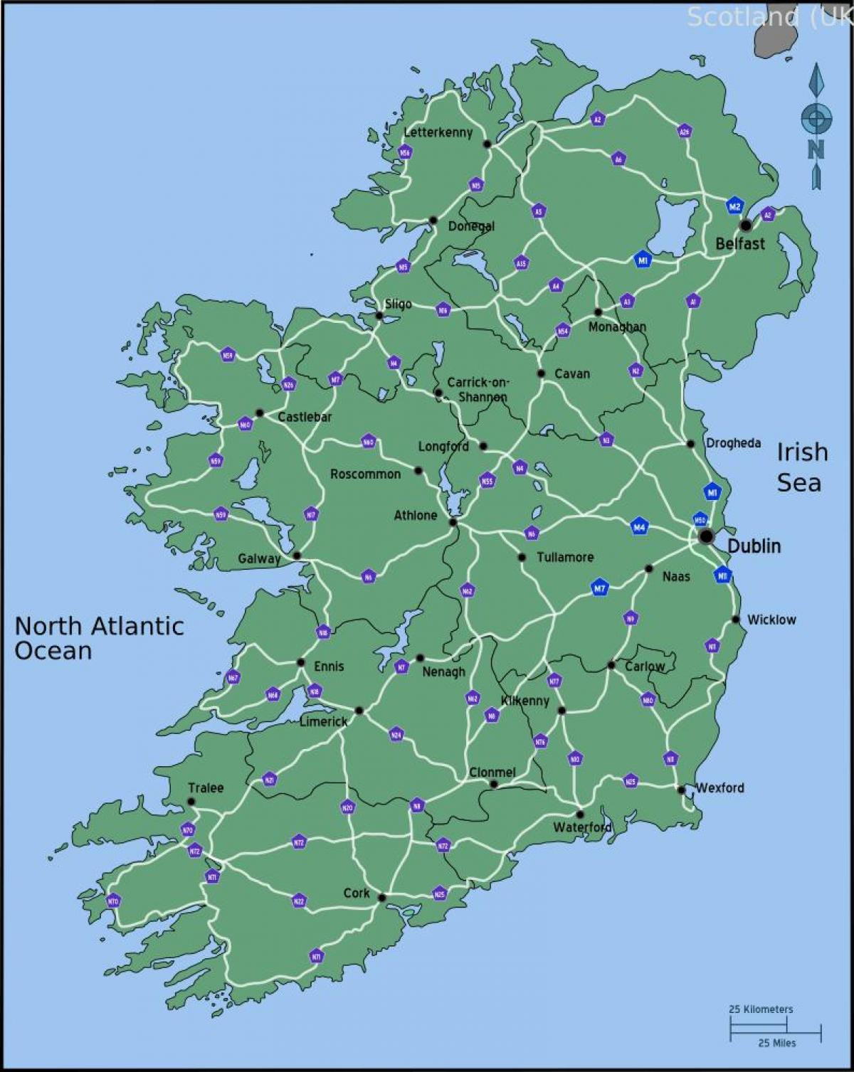 Driving map of ireland distance - Map of driving map of ...