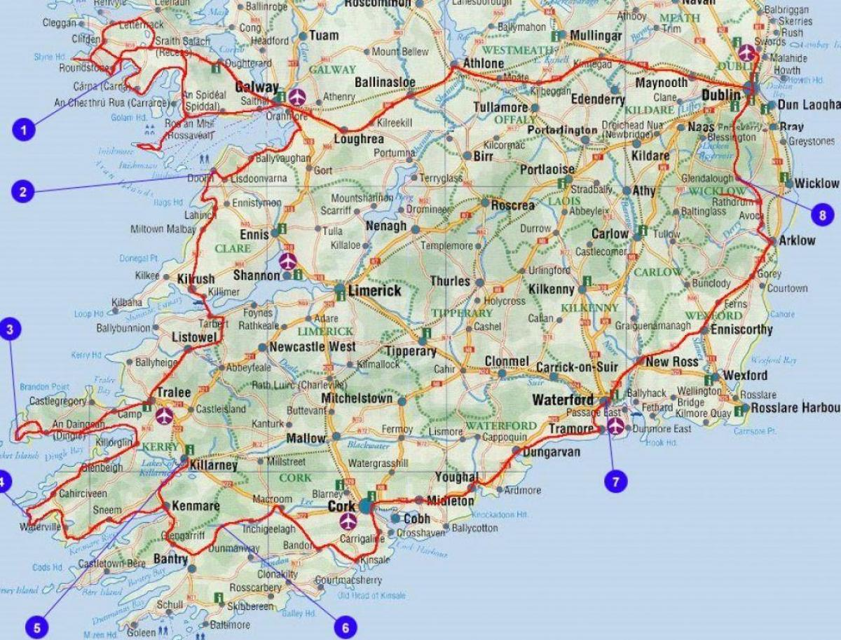 Driving Map Of Ireland With Attractions.Driving Map Of Ireland With Attractions Map Travel Ireland