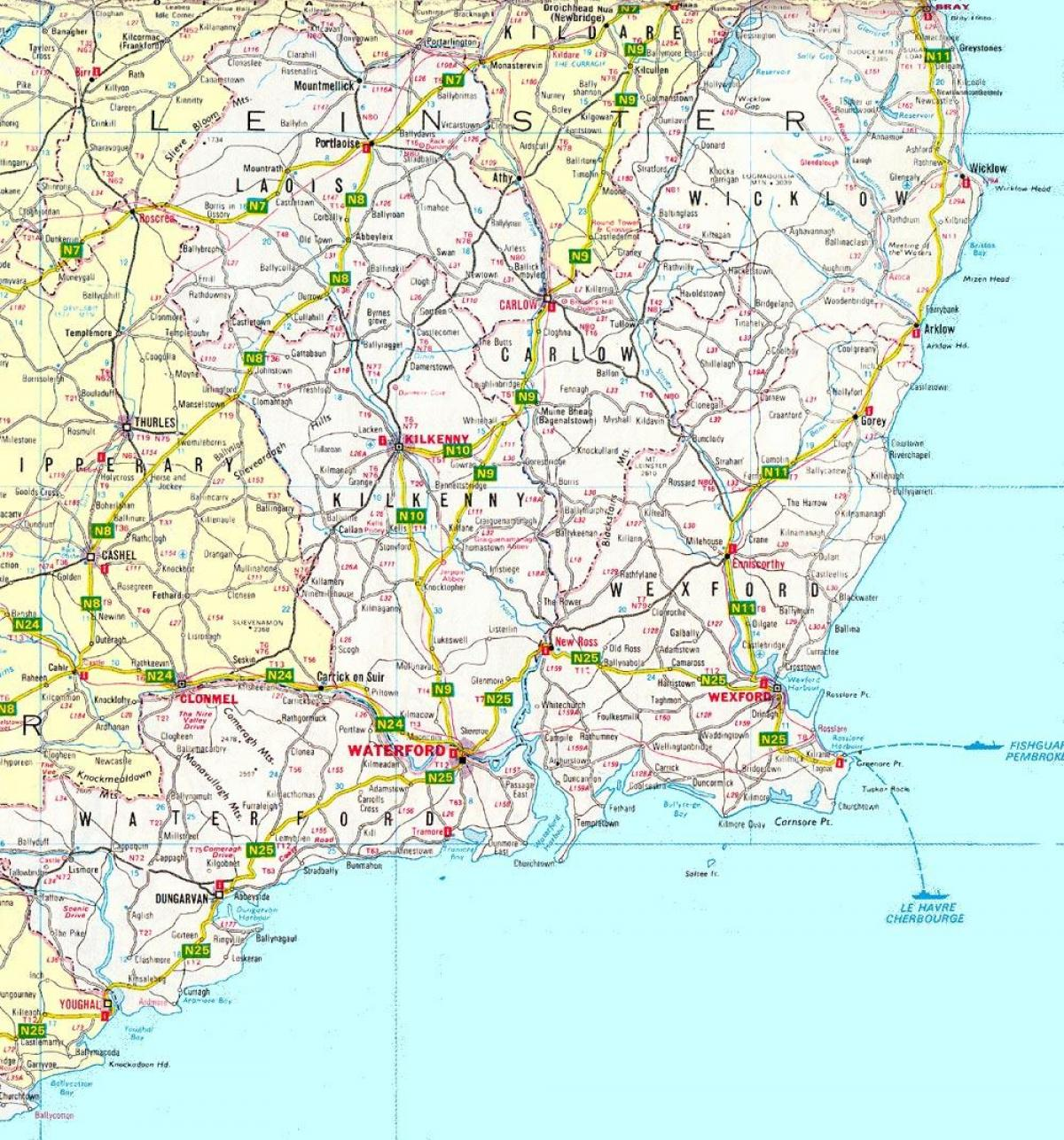 Map Of South East Ireland.East Ireland Map Map Of South East Ireland Northern Europe
