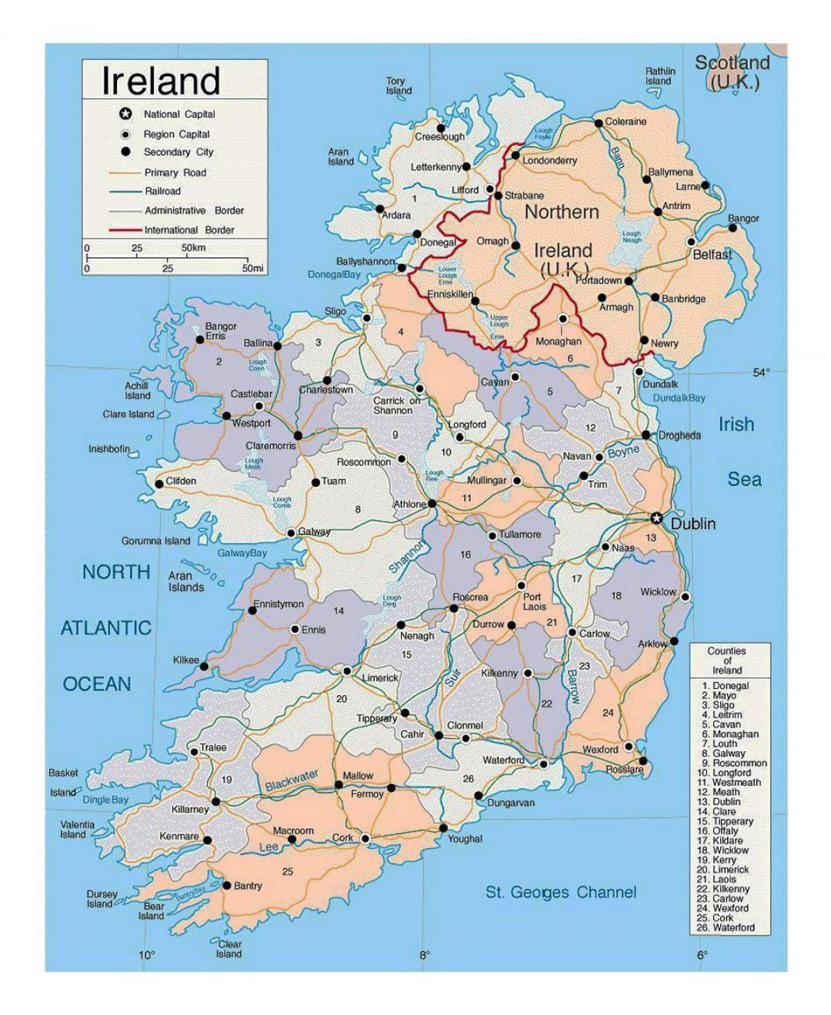 Cities In Ireland Map.Ireland Cities Map Map Of Ireland With Cities Northern Europe