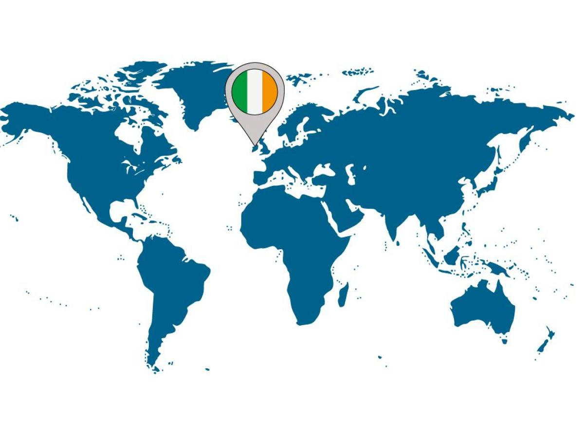 Ireland location on world map - Ireland on map of world ...