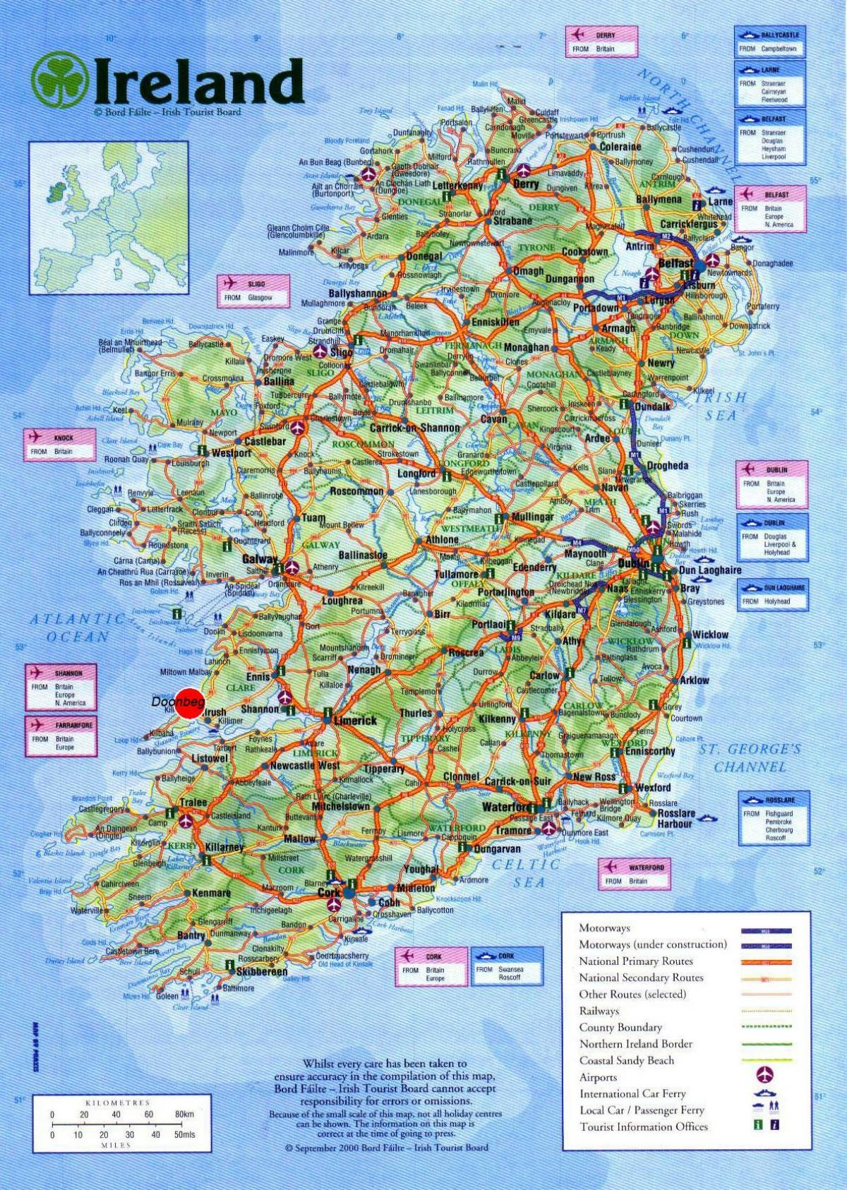map of ireland showing tourist attractions