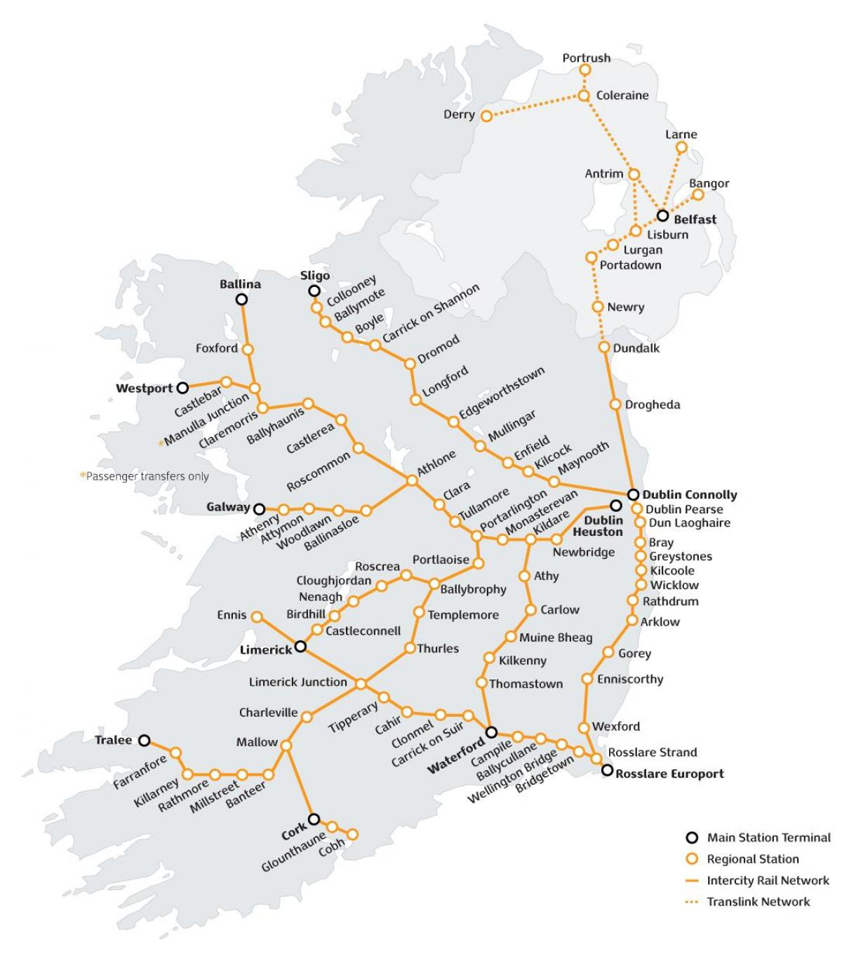 train travel in ireland map