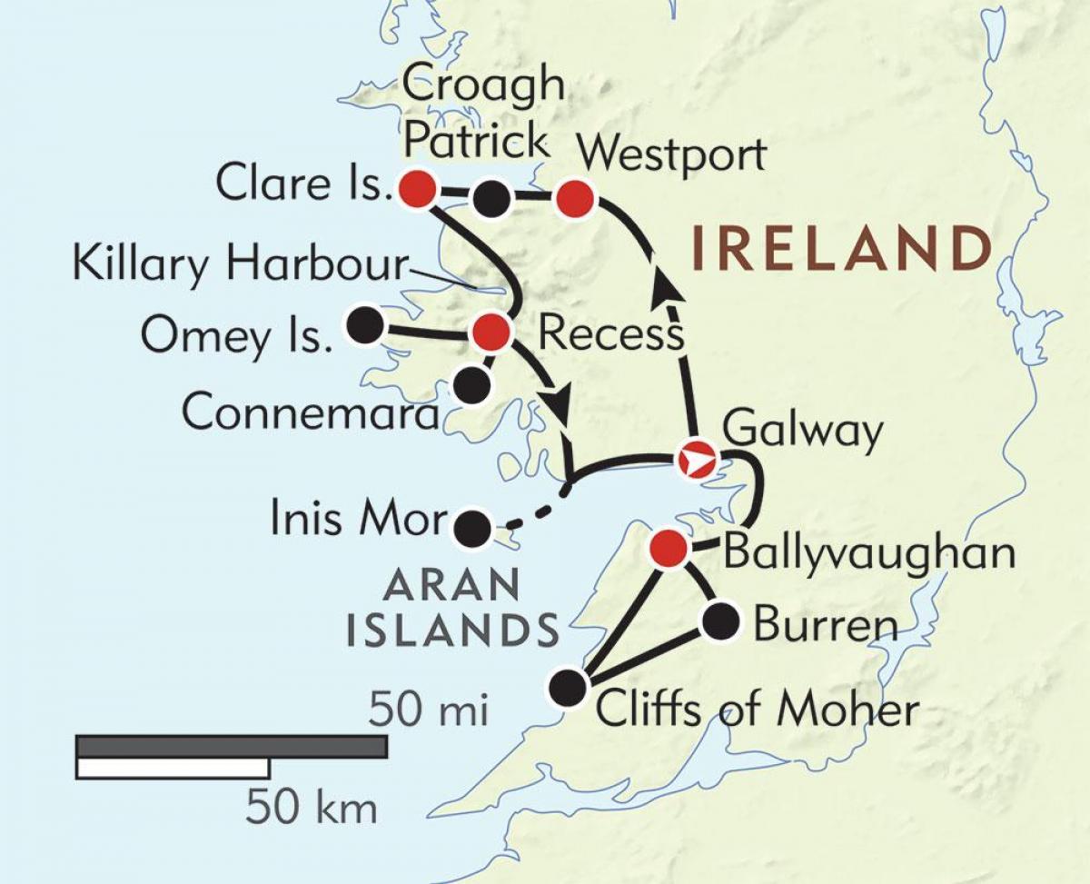 West Coast Of Ireland Map Map Of West Coast Of Ireland Northern
