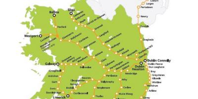 Rail travel in ireland map