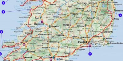 Map Of Southern Ireland Cities.Map Of Southern Ireland Counties And Cities Map Of Southern